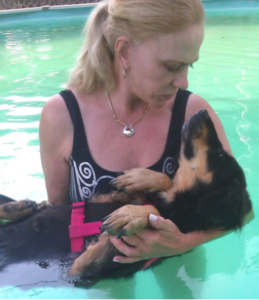 I love swimming with Mom.